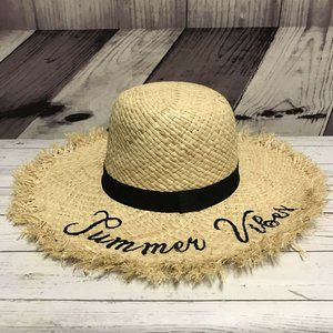 Time Tru Summer Vibes Straw One Size Floppy Hat